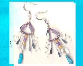 Earrings -BellaMonicaARTs Star People lavendar glass and Turquoise