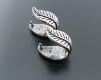 Sterling Silver Pinch Bail Leaf 1 pcs Sterling Silver Jewelry Supply Jewelry Findings