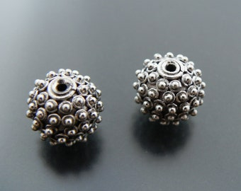 Sterling Silver 12 mm Bead Dotted Ball Bead Sterling Silver Jewelry Supply Jewelry Findings