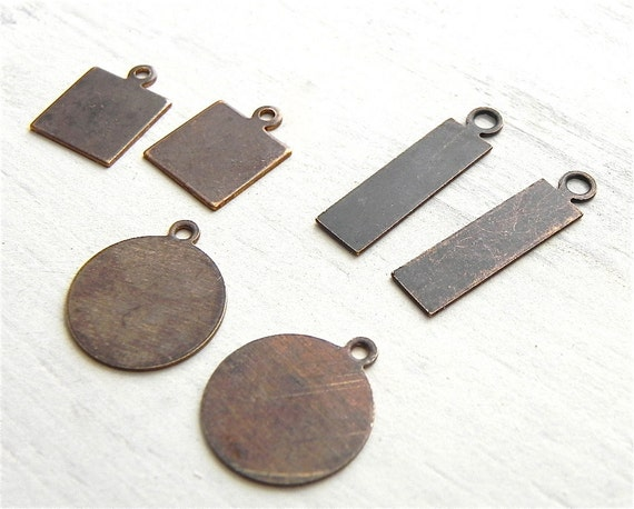 Circle Square Rectangle Blanks 10mm to 20mm Vintaj Brass 6 Pcs Jewelry Supply