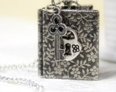 Book Picture Locket Floral Necklace - Book jewerly - Gift for her under 25 USD (N003)