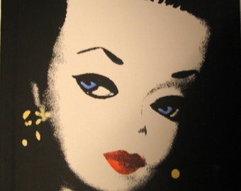 1959 barbie, 20 x 24 silkscreen/painting canvas, in white