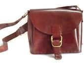 Leather Satchel Camera Bag Horse Leather Hand stitched Chestnut Red Adjustable Strap