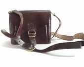 Leather Camera Bag  Horse Leather Cocoa Bean Adjustable Strap