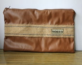 RESERVED-Mens Leather Clutch Russet with Burlap Vegan Zippered