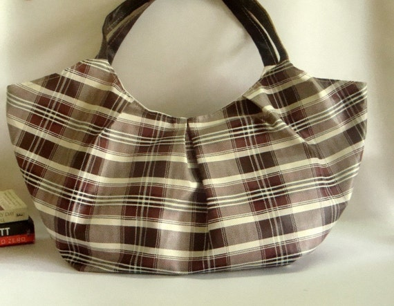 Oversize Bag in Brown Plaid with Leather Straps-RESERVED