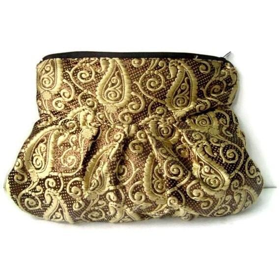 Zippered Clutch Purse Brocade Silk Coffee Liqueur Gold Paisley