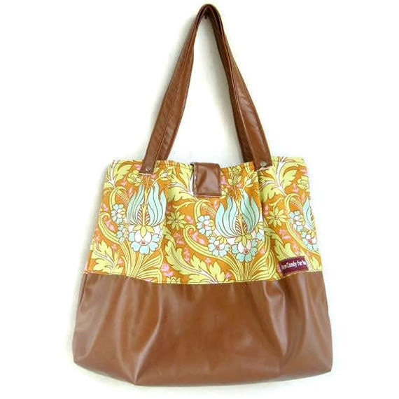 Amy Butler Bag Tote Vegan Leather Russet and Orange Pleated