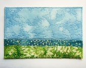 Wish You Were Here no.31 Quilted 4x6 Fibre Art Prairie Postcard Mail Art