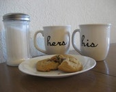 Hand Painted His and Hers Coffee Mugs Teacups Set - Only 1 Set Left