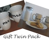 Hand Painted Coffee Mugs Teacups Mr and Mrs His and Hers Twin pack Set-READY TO SHIP