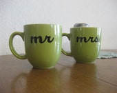 Green Mr. and Mrs. Hand Painted Coffee Mugs - Ready To Ship