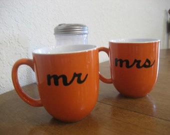 Orange Mr. and Mrs. Hand Painted Coffee Mugs