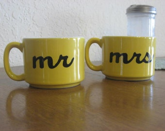 Yellow Mr. and Mrs. Hand Painted Coffee Cup - Ready To Ship