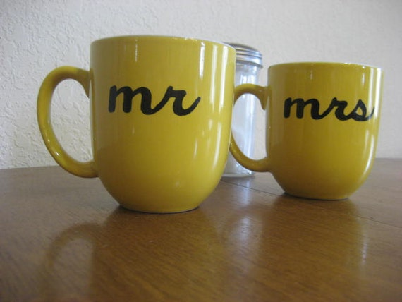 Last Set - Yellow Mr. and Mrs. Hand Painted Coffee Mugs - Ready To Ship
