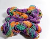 Handspun Yarn in orange,green,and purple