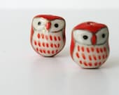 4 Ceramic Porcelain Owl Beads - Red and White
