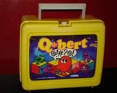 1983 Q bert video game character plastic lunch box lunchbox SUPER RAD and RARE