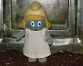 vintage Peyo 1980s smurf doll smurfette flocked action figure doll with dress