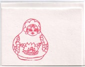 hand printed blank greeting card with pink Russian nesting doll design gocco creation by me