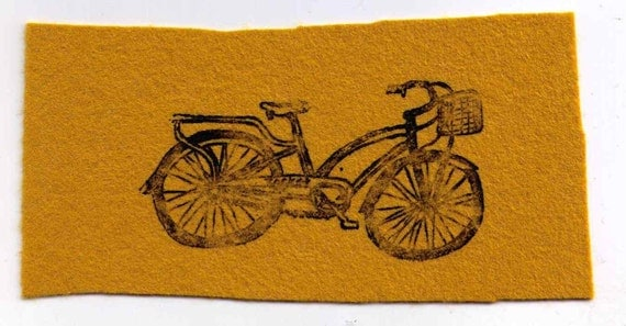 mustard colored heavy wool blend felt patch with gocco designed vintage bicycle bike