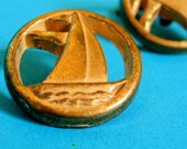 ON SALE 2 Vintage Sail Boat Nautical Button and Cuff link