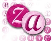 Pink alphabet letter monogram digital collage bottle cap pink hot pink jewelry making paper supplies download file (026) BUY 3 GET 1 FREE