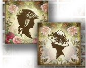 Digital collage Vintage Victorian lady silhouettes scrabble tile square jewelry making paper supplies download image (082) BUY 3 GET 1 FREE