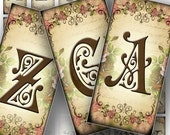 Digital collage sheet download art domino necklace Vintage alphabet letter initial jewelry making paper supplies (080) BUY 3 GET 1 FREE