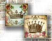 1 inch square Digital Collage Sheet scrabble tile download images jewelry making paper supplies Victorian royal crowns (064)BUY 3 GET 1 FREE