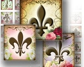 1x1 digital collage sheets for scrabble tiles download art jewelry making paper supplies Vintage Royal Fleur de Lis (114) BUY 3 GET 1 FREE