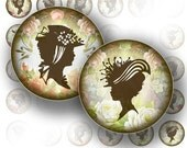 1 inch circle printable digital collage sheet bottle cap download jewelry making supplies Victorian lady silhouette (083)BUY 3 GET 1 FREE