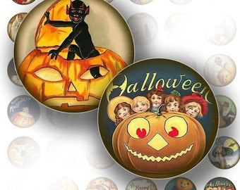 Halloween 1 inch circle digital art collage sheet for bottle cap images art Victorian jewelry making paper supplies (079) BUY 3 GET 1 FREE