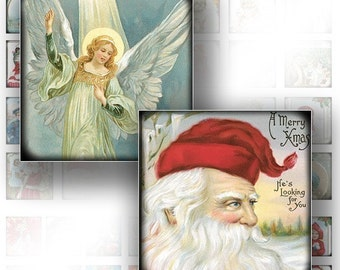 Victorian Christmas ephemera digital collage sheet scrabble tile 1x1 inch jewelry making paper supplies download file (097) BUY 3 GET 1 FREE