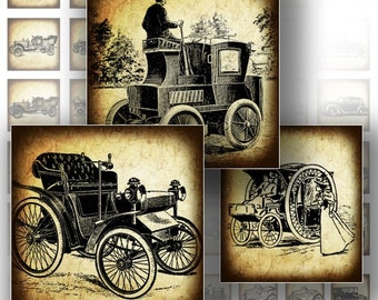 1 inch digital art collage sheet for scrabble tiles images jewelry making paper supplies download Vintage cars autos (137) BUY 3 GET 1 FREE