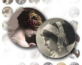 1 inch circle digital collage sheet bottle cap Victorian Edwardian vintage lady ephemera jewelry making paper supplies(022) BUY 3 GET 1 FREE