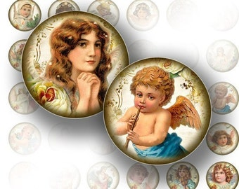 1 inch circle digital art collage sheets bottle caps Victorian angels jewelry making paper supplies download graphics (048) BUY 3 GET 1 FREE