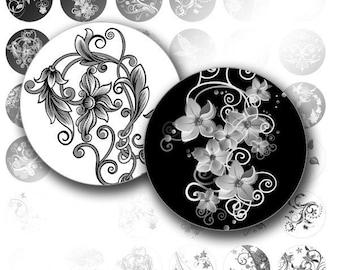 Digital collage sheet 1 inch circle digital art bottle cap images Black white swirls jewelry making paper supplies (033) BUY 3 GET 1 FREE