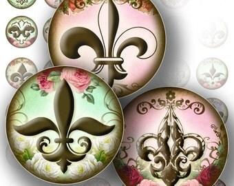 1 inch Circles Digital Collage Sheet Bottle Cap Jewelry Making Royal Fleur de Lis Paper Supplies Art Download File (115) BUY 3 GET 1 FREE