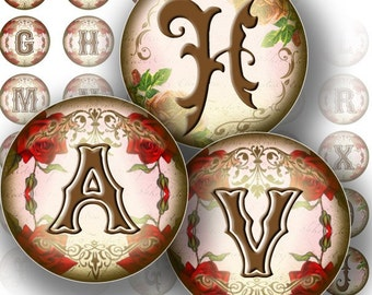 Victorian alphabet letters 1 inch digital art collage sheet bottle cap image shabby chic jewelry making paper supplies (103)BUY 3 GET 1 FREE