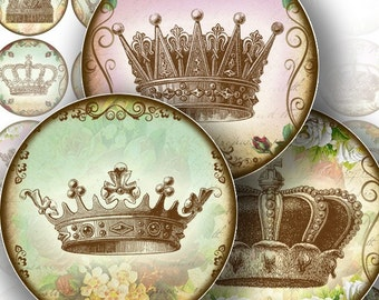 1.5 inch circle digital art downloads bottle cap images vintage paper jewelry making paper supplies Royal crowns (111) BUY 3 GET 1 FREE