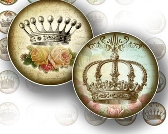 1 inch round digital collage sheet art circles Shabby chic Royal crown bottle cap image jewelry making paper supplies (065) BUY 3 GET 1 FREE