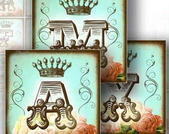 Digital collage sheet download paper art Vintage alphabet letter monogram 1.5x1.5 in square jewelry making supplies (146) BUY3 GET 1 FREE