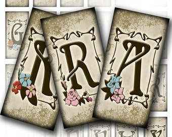1x2 inch digital collage sheet for domino tiles alphabet letters images jewelry making download vintage paper supplies (031)BUY 3 GET 1 FREE