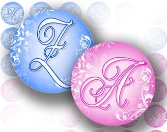 Blue and pink alphabet letter monogram 1 inch circle digital collage bottle cap jewelry making paper supplies download(058) BUY 3 GET 1 FREE