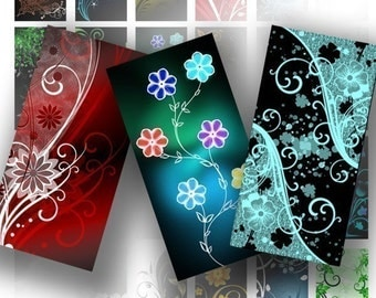 Digital collage sheet download art domino tile images necklace jewelry making paper supplies Colorful floral swirls (046) BUY 3 GET 1 FREE