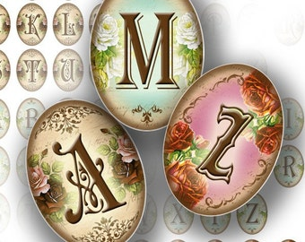 1 inch digital art Cameo digital collage alphabet letters jewelry making supplies paper download Victorian monogram  (105) BUY 3 GET 1 FREE