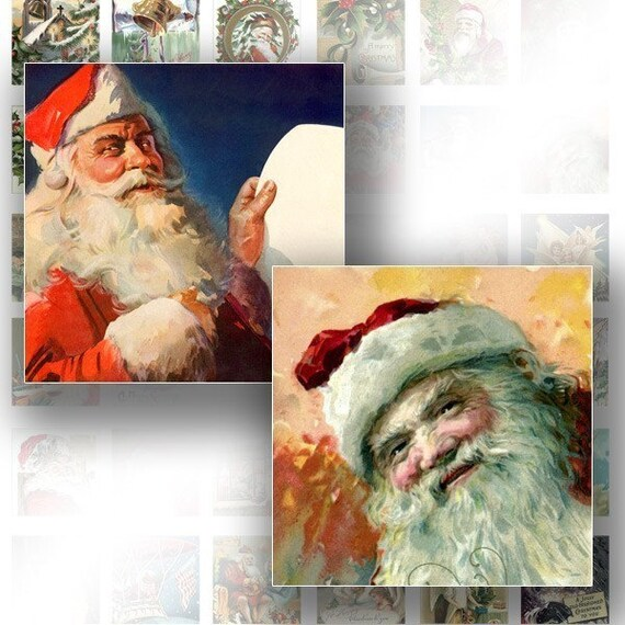 Victorian Christmas ephemera digital collage sheet scrabble tile pedant 1x1 inch for jewelry making paper supplies (095) BUY 3 GET 1 FREE