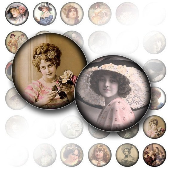 Bottle cap images 1 inch circle digital art collage sheet Victorian woman Vintage download jewelry making supplies (019) BUY 3 GET 1 FREE
