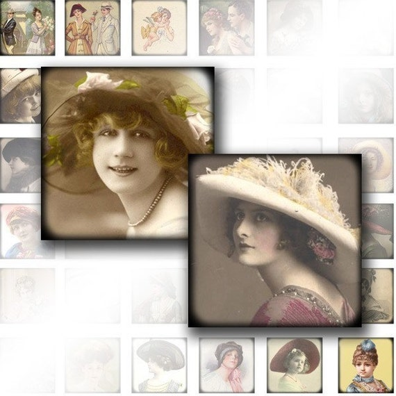 1x1 digital collage sheet art scrabble tile images jewelry making paper supplies Victorian Edwardian vintage lady (018) BUY 3 GET 1 FREE